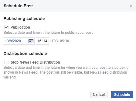 Facebook Schedule Tool
