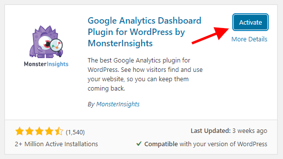 Activated MonsterInsights Plugin