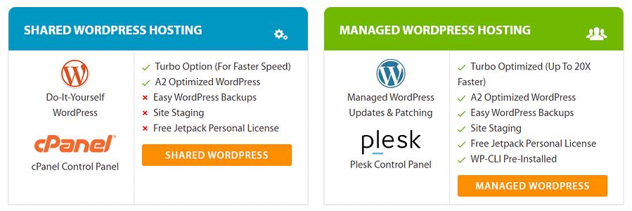 A2Hosting Shared VS Managed WordPress Hosting