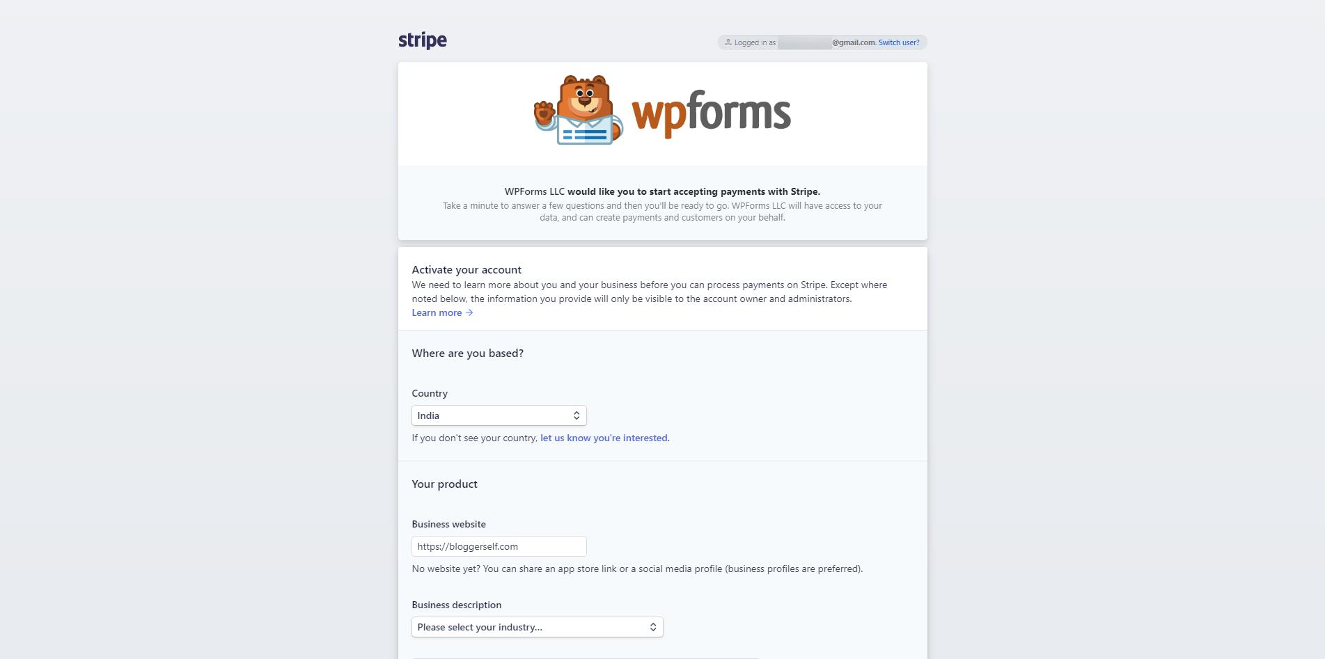 Connect WPForms & Stripe Screenshot