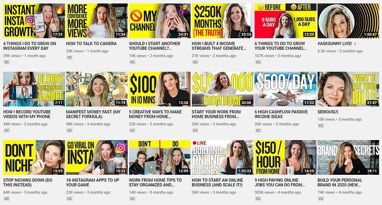 Sunny Lenarduzzi YouTube Thumbnails