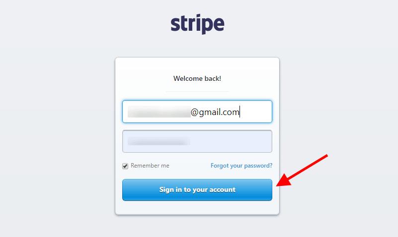 Stripe Sign In Screenshot