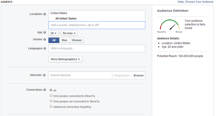 Facebook Ad Targeting Setting Screenshot 1