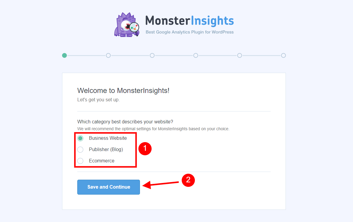 MonsterInsights Setup Wizard Page 1