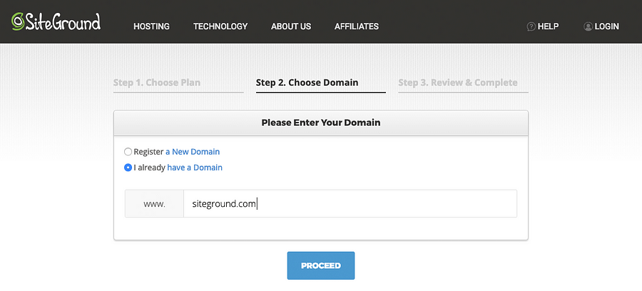 SiteGround Hosting Purchase Domain Selection