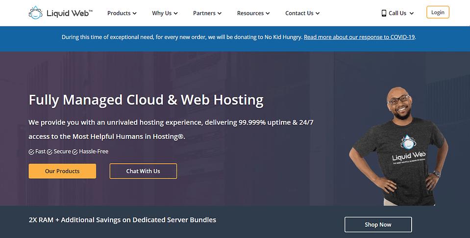 Liquid Web Review - Homepage Screenshot