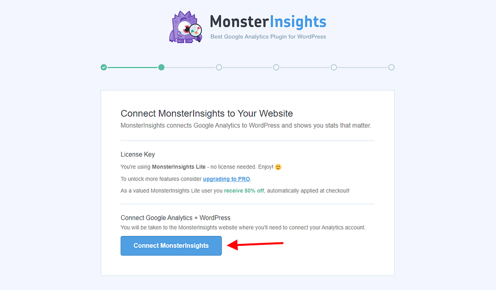MonsterInsights Setup Wizard Page 2