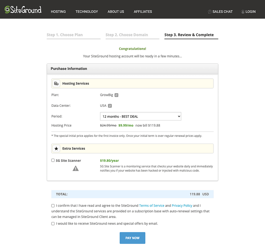 SiteGround Hosting Checkout Page Screenshot