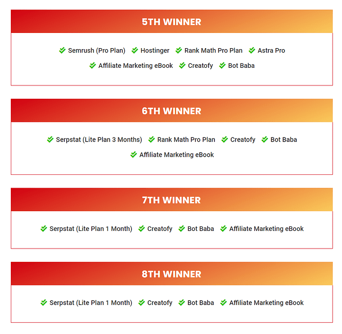 Rest Of The Prize Distribuiton