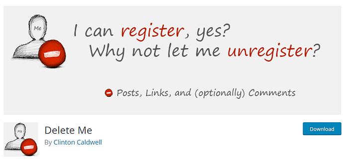 Delete Me Plugin WordPress