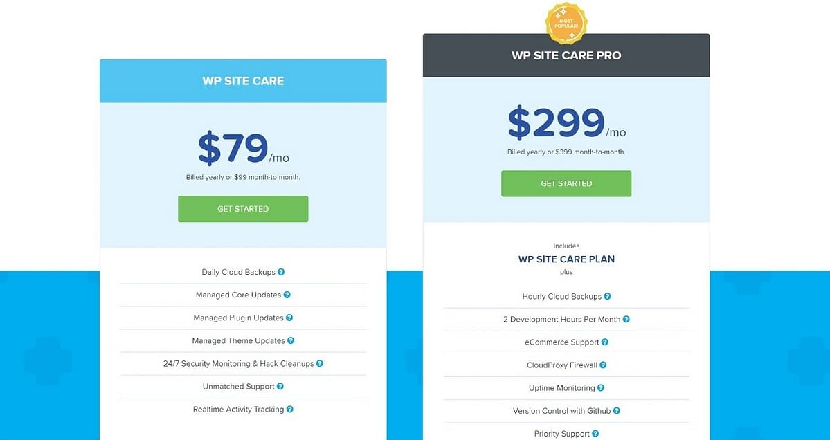 WP Site Care Pricing