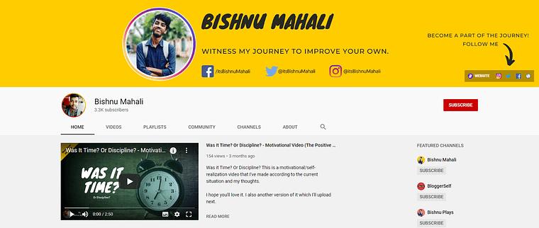 Bishnu Mahali YouTube Channel Homepage Screenshot