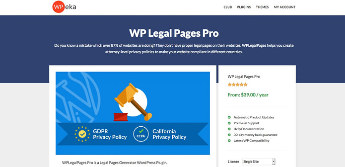 WP Legal Pages Pro Plugin Privacy Policy Generator For WordPress