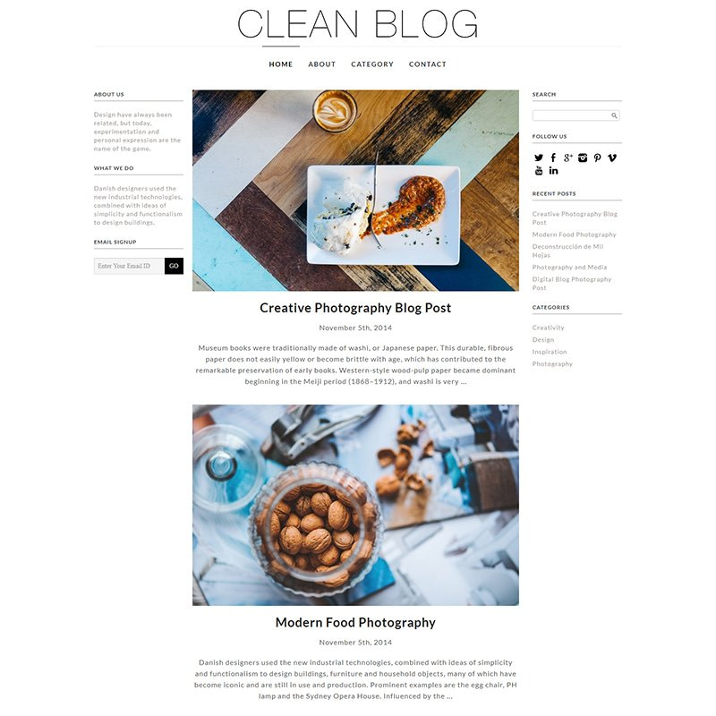 Clean Blog WooCommerce Theme