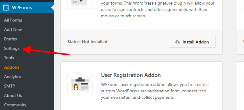WPForms Settings Screenshot 1