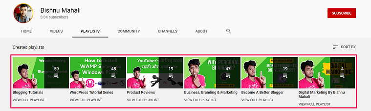 YouTube Channel Playlist Section Screenshot