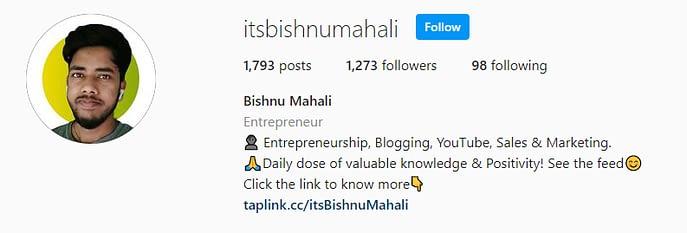 Bishnu Mahali Instagram Profile
