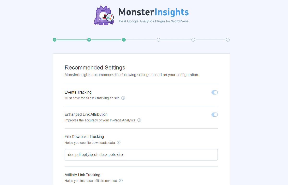 MonsterInsights Setup Wizard Page 3