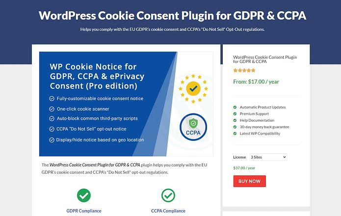 WP Cookie Consent Plugin Screenshot